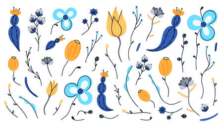 Vector set of hand drawn abstract flowers. Floral composition. Spots and stains. Freehand doodle style. Artistic design for card, packaging, home decor, invitation, banner, cover, stickers, label  イラスト・ベクター素材