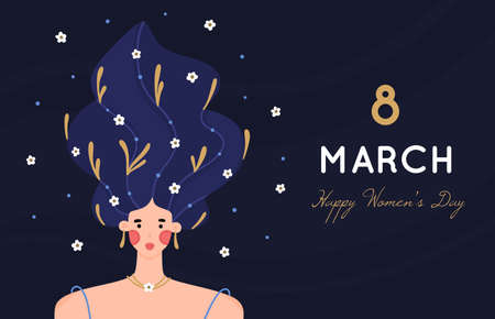8 March. International Womens Day. Portrait of girl with raised hair decorated with many flowers on dark background. Woman with blooming hairstyle. Spring holiday. Poster, invitation, banner. Vector  イラスト・ベクター素材