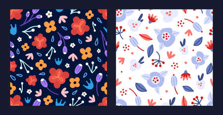 Set of floral seamless patterns. Hand drawn beautiful flowers. Colorful repeating backgrounds with blossom. Designs for wallpaper, textiles, wrapping paper, cover notebook, header. Vector illustration