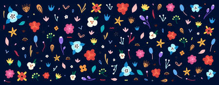 Large set of flowers and floral elements. Colorful clipart for decorating greeting cards, covers, invitations and more, as well as for creating print for fabrics, wrapping papers, wallpaper. Vector  イラスト・ベクター素材