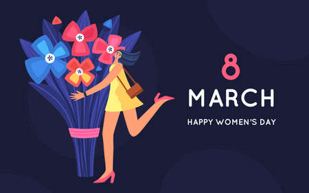8 March. International Womens Day. Beautiful and joyful girl holding huge bouquet of flowers. Disproportionate body. Trendy character design. Spring holiday. Poster, invitation, banner. Vector