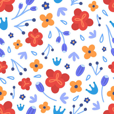 Floral seamless pattern. Hand drawn beautiful flowers. Colorful repeating background with blossom.