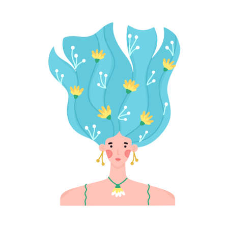 Portrait of girl with raised wavy hair decorated with many flowers. Floral hairpins. Woman with blooming hairstyle. Spring character. Beauty salon brochure, shampoo label, print for postcard. Vector