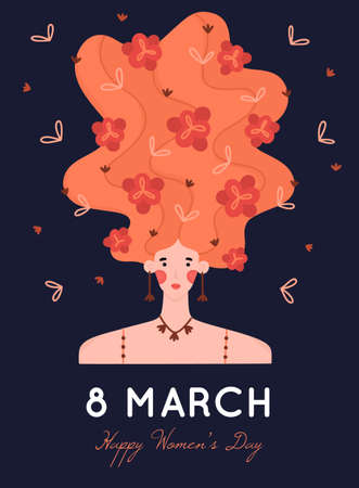 8 March. International Womens Day. Portrait of girl with raised hair decorated with many flowers on dark background. Woman with blooming hairstyle. Spring holiday. Poster, invitation or greeting card