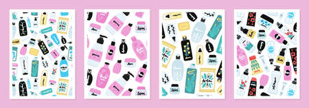 Set of cover templates with colorful pattern of cosmetic products. Backgrounds with natural cosmetics. Beauty care. Designs is for notebook, planner, diary, poster, card. Size A4. Vector illustration