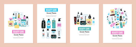 Set of cover templates with colorful cosmetic products. Backgrounds with natural cosmetics. Beauty care. Designs is for notebook, planner, diary, poster, card. Size A4. Vector illustration  イラスト・ベクター素材