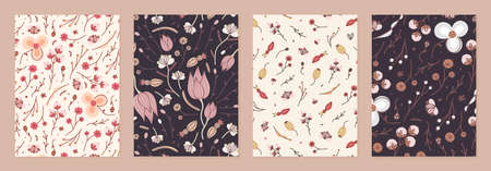 Set of cover templates with retro flowers. Brown and nude artistic backgrounds with floral decorations. Designs is for notebook, planner, diary, poster, card. Size A4. Vector illustration  イラスト・ベクター素材