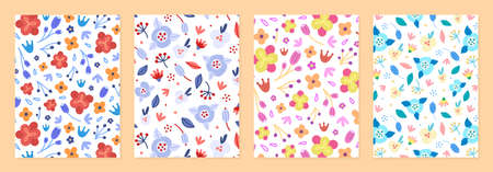 Set of cover templates with beautiful flowers. Colorful artistic rustic backgrounds with floral decorations. Designs is for notebook, planner, diary, poster, card. Size A4. Vector illustration  イラスト・ベクター素材