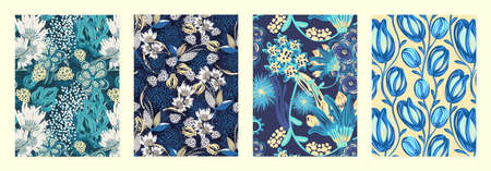Set of cover templates with creative sloppy flowers. Blue and yellow artistic backgrounds with floral decorations. Designs is for notebook, planner, diary, poster, card. Size A4. Vector illustration 写真素材