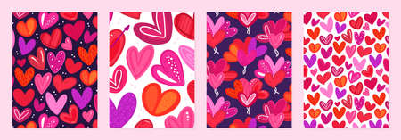 Set of cover templates with colorful hearts with hand-drawn texture. Designs for Valentines Day. Symbol of love. Designs is for notebook, planner, diary, poster, card. Size A4. Vector illustration
