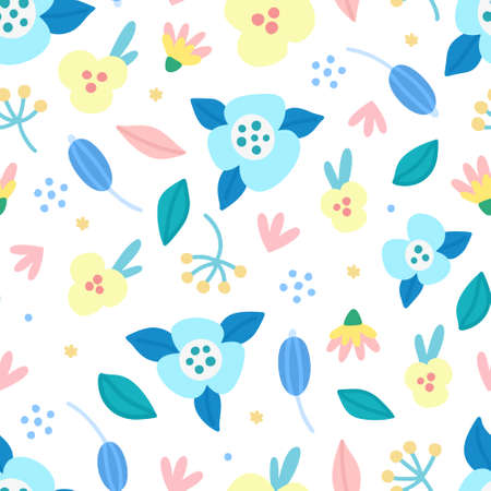 Floral seamless pattern. Hand drawn beautiful flowers. Colorful repeating background with blossom. Design for wallpaper, textiles, wrapping paper, cover notebook, header. Vector illustration