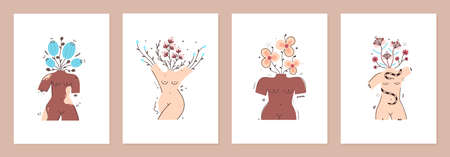 Set of cover templates with flowers in vase in form of naked female bodies. Body positive. All women are beautiful. Designs is for notebook, planner, diary, poster, card. Size A4. Vector illustration  イラスト・ベクター素材