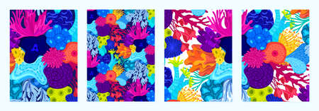 Set of cover templates with patterns of bright corals. Colorful artistic backgrounds with sea or ocean life. Summer designs is for notebook, planner, diary, poster, card, book. Vector illustration