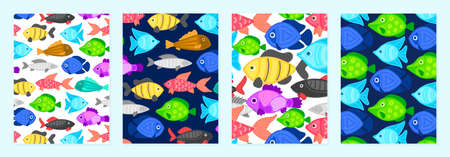 Set of cover templates with patterns of bright cartoon fish. Colorful artistic backgrounds with sea or ocean life. Summer designs is for notebook, planner, diary, poster, card, book. Vector