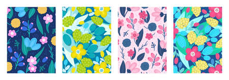 Set of cover templates with beautiful flowers. Colorful artistic backgrounds with floral decorations. Spring designs is for notebook, planner, diary, poster, card, book. Vector illustration