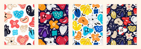Set of cover templates with bright simple flowers. Colorful artistic backgrounds with abstract floral decorations. Summer designs is for notebook, planner, diary, poster, card, book. Vector