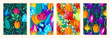 Set of cover templates with beautiful bright flowers. Colorful artistic backgrounds with floral decorations. Summer designs is for notebook, planner, diary, poster, card, book. Vector illustration