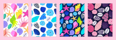 Set of cover templates with patterns of bright shells. Undersea world. Colorful artistic backgrounds with sea or ocean life. Summer designs is for notebook, planner, diary, poster, card, book. Vector