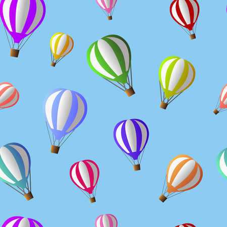 Vector illustration of colorful air ballons flying on the light blue sky, seamless pattern EPS 8