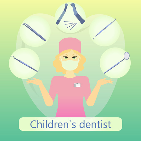 Vector illustration of children`s dentist with defferent dental instruments on the light green background with tooth.