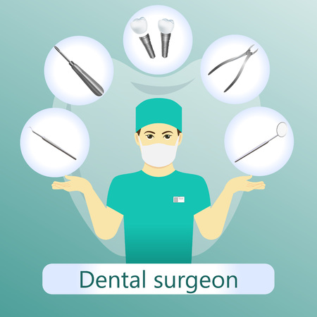 Vector illustration of dental surgeon with defferent dental instruments on the light green background with tooth. Vettoriali