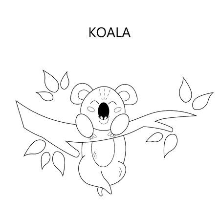Coloring book page for children. Cartoon koala. Vector illustration