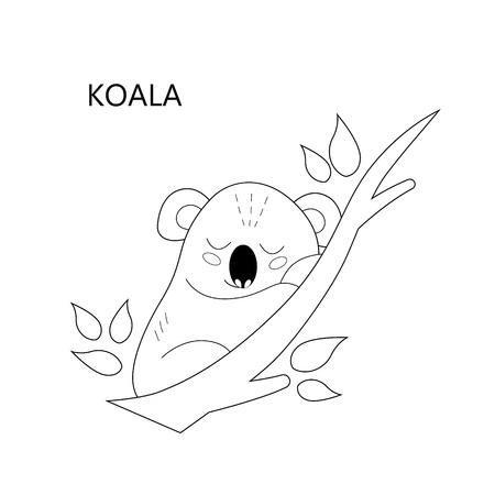 Coloring book page for children. Cartoon sleeping koala. Vector illustration