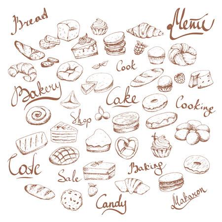 Varie torte e insieme di vettore di doodle di panetteria. Lettere. Caffè da forno. Marrone su bianco Vettoriali