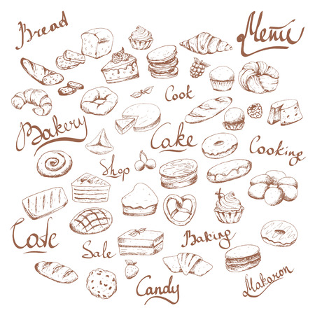 Varios pasteles y panadería doodle conjunto de vectores. Letras. Café de panadería. Marrón sobre blanco Ilustración de vector