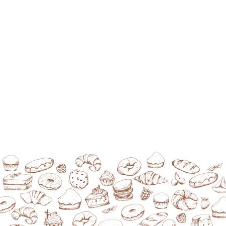 Divers gâteaux et boulangerie doodle vector set. Café de la boulangerie. Lieu de texte, carte, menu, logo Logo