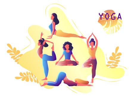 Ensemble de fille d'entraînement de yoga. Femme faisant des exercices de yoga. Emblème de yoga pour la conception d'affiches, de bannières, de prospectus ou de cartes. Échauffement, étirements. Illustration vectorielle. Vecteurs