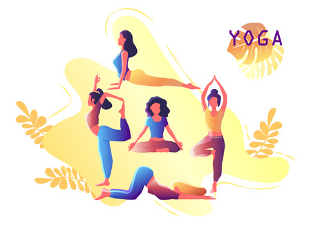 Yoga workout girl set. Woman doing yoga exercises. Yoga emblem for poster, banner, flyer or card design. Warming up, stretching. Vector illustration.