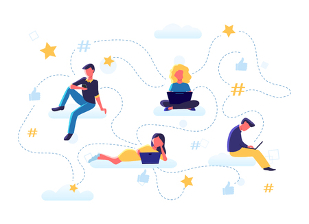 Concept vector illustration of flat people sitting on clouds with laptops, smartphones, leaving online reviews, giving feedback, rating. Thumb up, stars icons, hashtag, infographics. Social media.