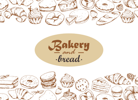 Vintage bakery sketch background. Bakery and bread. Vector design for bakery or baking shop with hand drawn bread illustration. Illustration