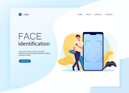 Web page template, landing page. Vector illustration of smartphone scans a person face. Flat concept of young man using mobile app for facial recognition. Biometric identification.