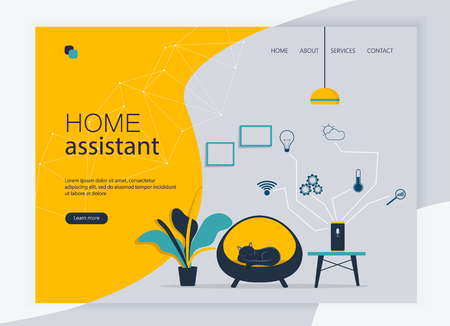 Flat vector illustration of Voice command device with virtual assistant. Website template and landing page design of smart speaker in the home interior. Automation system for house Çizim