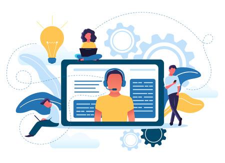 Vektorillustrationskonzept von jungen Leuten verwenden technischen Online-Support. Kundenservice, männlicher Hotline-Betreiber berät Kunden. Kunde und Betreiber. Vektorgrafik