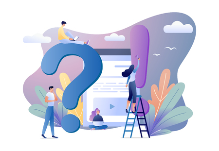 Business concept flat vector illustration of FAQ with people around exclamation and question marks. Frequently asked questions. For web banner, website, flyer, card
