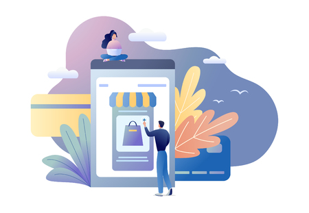 Business concept flat vector illustration of online shopping with small people buy things on the site on the mobile phone screen. For web banner, website, flyer, card