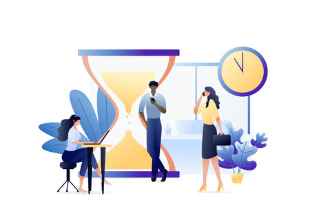 Business Concept Vector Illustration of Busy People with Laptops and Mobile Phones Hurry up to Complete Tasks with Clock and Hourglass. For web banner, website, flyer, card