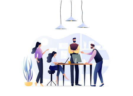 Group of People Talking Together, Discussion, Looking For New Ideas. Colleagues, Office Workers, Business. Teamwork concept. Vector Illustration. For Web Banner, Website Flyer Card