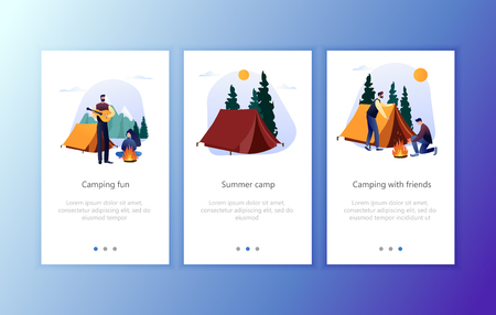 Camp Hiking Lifestyle Concept for Website or Web Page, Onboard Screen Set. Nature Forest Camping at Fire App Set. Flat Vector Illustration Ilustração
