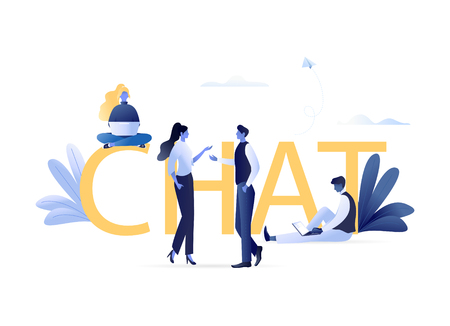 Chat - People Talking, Discussing Together Offline and Via Internet Sitting with Laptops and Standing Near Letters CHAT. Online Chatting, Social Network, Forum. Flat Vector Concept Illustration Illustration