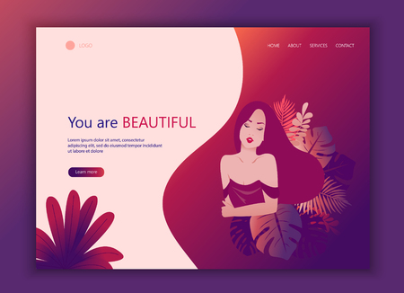 Landing Page Website Template of Beauty. Illustration