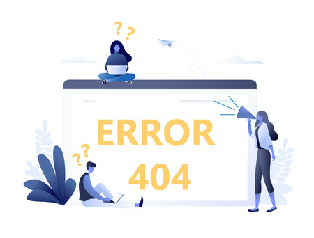 Error 404 with people and big computer screen, disconnection from the Internet, unavailable page. Flat concept vector illustration for web banner, website, presentation