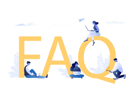 FAQ - letters with little people sitting near letters and using laptops. Frequently asked questions concept. Flat concept vector illustration for web banner, website, presentation Illustration