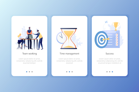 Teamwork, Time management, Success. Set of onboarding screens user interface kit. Mobile application templates. Website, web page. Modern UX, UI. Flat business concept vector illustration.