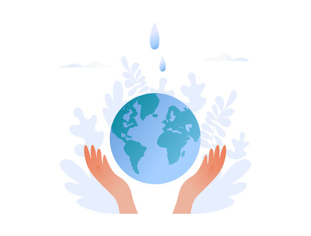 Hands hold planet with water drops - save the planet, Earth Day, save energy concept. Flat vector illustration for web banner, website, presentation.  イラスト・ベクター素材