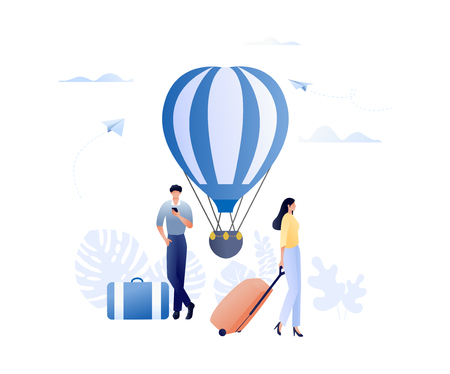 Travelling - people with bags and air balloon. Going on holidays, vacation planning. Human characters isplated on withe background. Flat concept vector illustration for web, landing page, banner, presentation, flyer, poster Vectores