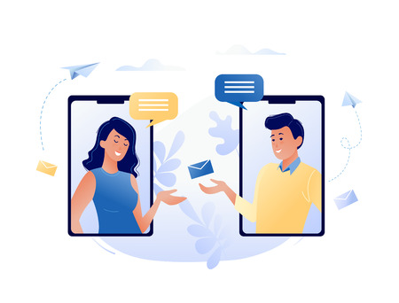 Concept vector illustration of chatting via the Internet using mobile phone, social networking, communication, news, messages, search friends. For web banner, website, flyer, card.
